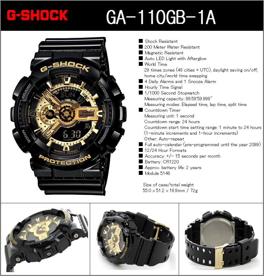 Buy Casio New G Shock100 Authentic With Ems Safety Shipping Shock Gac 110 1adr Delivery Will Take 35 Days After The Order Has Shipped